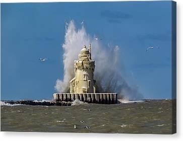 Frozen  Cleveland Lighthouse Canvas Print