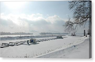 Frozen Dock Canvas Print