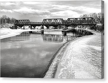 Railroad Bridge Canvas Print - Frozen Kennebec River And Railroad Bridge In Waterville by Olivier Le Queinec