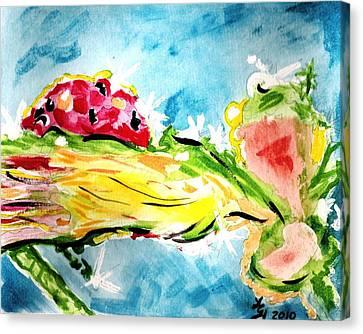 Frozen Ladybug Canvas Print