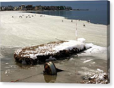 Canvas Print featuring the photograph Frozen Long Beach Island by John Rizzuto