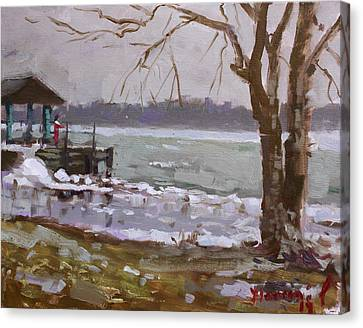 Frozen Niagara River Canvas Print by Ylli Haruni
