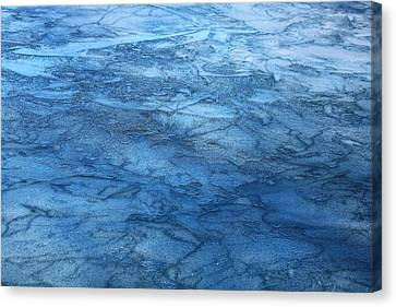 Canvas Print featuring the photograph Frozen Water Blue Abstract by Sheila Brown