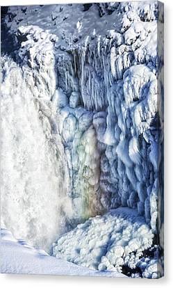 Frozen Waterfall Gullfoss Iceland Canvas Print by Matthias Hauser
