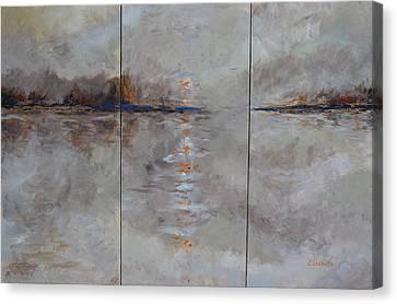 Frozern Fog Triptych Canvas Print by Beth Maddox