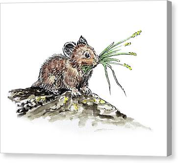 Canvas Print featuring the painting Frugal Mr Mouse  by Irina Sztukowski