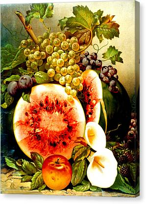 Fruit And Calla Lilies - Vintage Art Painting Canvas Print