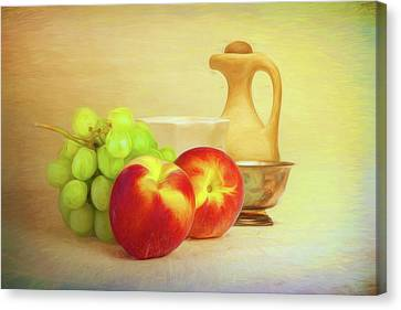 Peach Canvas Print - Fruit And Dishware Still Life by Tom Mc Nemar