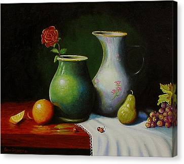 Canvas Print featuring the painting Fruit And Pots. by Gene Gregory