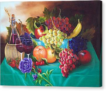 Fruit And Wine On Green Cloth Canvas Print by Joni McPherson