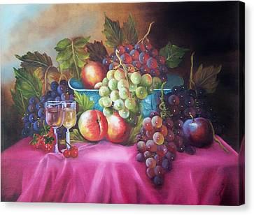 Fruit And Wine On Mauve Cloth Canvas Print by Joni McPherson