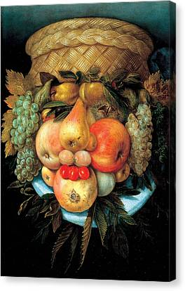 Fruit Basket Canvas Print by Giuseppe Arcimboldo