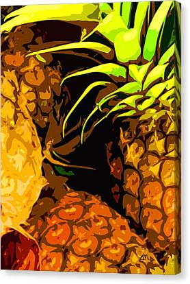 Fruit Expression Two - Pineapples Canvas Print by Linda Mears