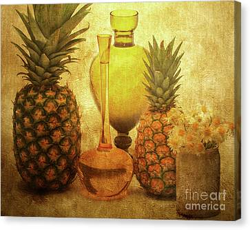 Fruit Flowers And Vases Canvas Print by KaFra Art