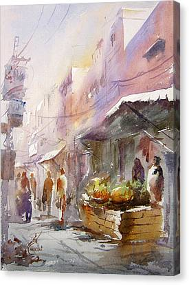 Fruit Market Lahore Canvas Print by MKazmi Syed