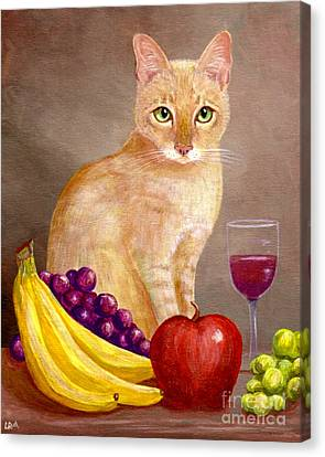 Red Cat Wine Canvas Print - Fruit Of The Spirit by Lisa  Adams