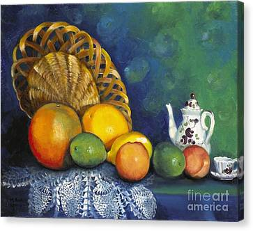 Canvas Print featuring the painting Fruit On Doily by Marlene Book