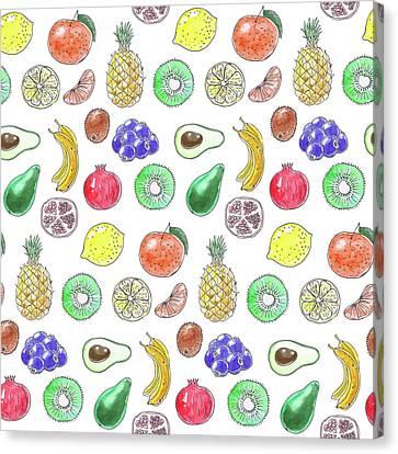 Snack Canvas Print - Fruit Pattern  by Katerina Kirilova