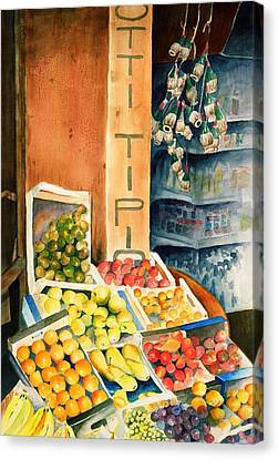 Fruit Shop In San Gimignano Canvas Print by Judy Swerlick