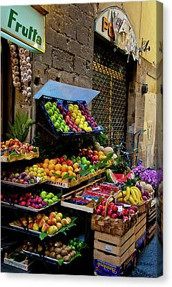 Canvas Print featuring the photograph Fruit Stand  by Harry Spitz