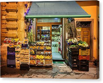 Fruit Stand In Tuscany Canvas Print by Al Hurley