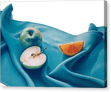 Canvas Print featuring the drawing Fruits And Linen by Donna Basile