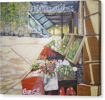 Canvas Print featuring the painting Fruits Et Legumes by Julie Todd-Cundiff