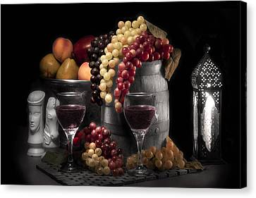 Candle Lit Canvas Print - Fruity Wine Still Life Selective Coloring by Tom Mc Nemar