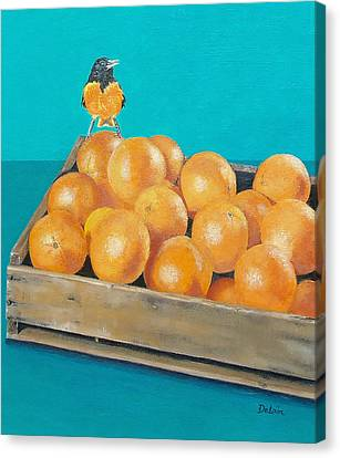 Canvas Print featuring the painting Frustrated Oriole by Susan DeLain