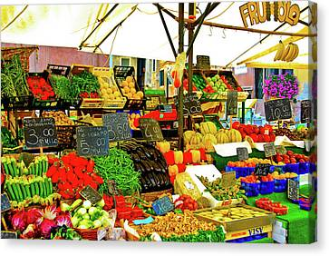 Canvas Print featuring the photograph Fruttolo Italian Vegetable Stand by Harry Spitz