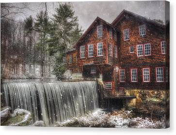 Old Mill Scenes Canvas Print - Frye's Measure Mill - Winter In New England by Joann Vitali