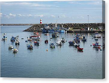 Water Vessels Canvas Print - Fishing Boats In Sines Harbot, Portugal by Carlos Caetano
