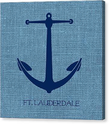 Ft Lauderdale Anchor Blue Canvas Print by Brandi Fitzgerald