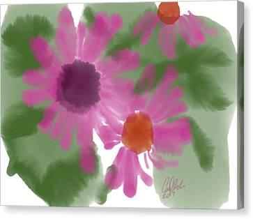 Indian Ink Canvas Print - Fuchsia Gerbers by Carl Griffasi