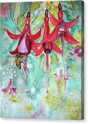 Canvas Print featuring the painting  Fuchsia by Jasna Dragun