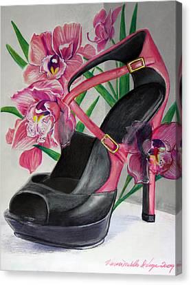Fuchsia Orchid Colour Block Canvas Print by Karon Melillo DeVega