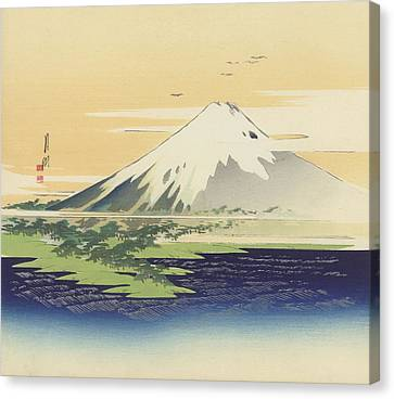 Fuji From The Beach At Mio Canvas Print by Ogata Gekko