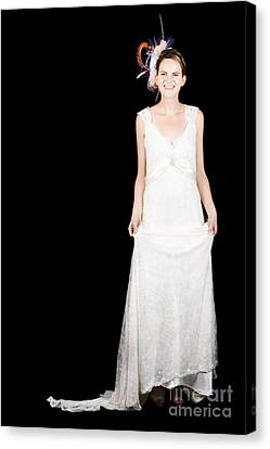 Full Body Portrait Of A Bride With Smile On Black Canvas Print