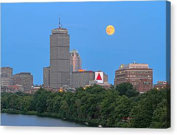 Full Moon Across Boston Skyline Canvas Print by Juergen Roth