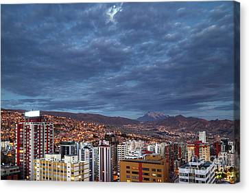 Full Moon And Clouds Above La Paz Bolivia Canvas Print