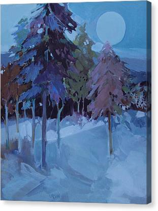 Full Moon And Pines Canvas Print by Diane Ursin