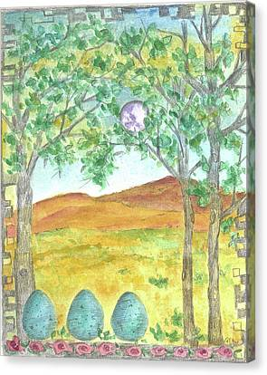 Canvas Print featuring the drawing Full Moon And Robin Eggs by Cathie Richardson