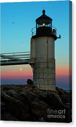 Full Moon At Marshall Point Lighthouse Canvas Print by Diane Diederich