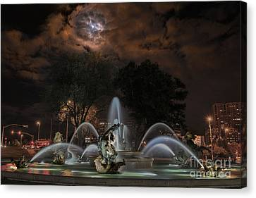 Full Moon At The Fountain Canvas Print by Lynn Sprowl