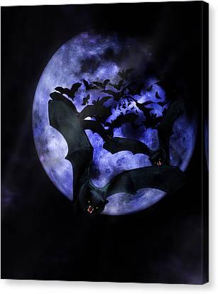 Full Moon Bats Canvas Print by Gravityx9  Designs