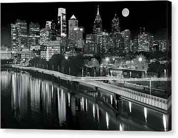 Rocky Statue Canvas Print - Full Moon Black And White In Philly by Frozen in Time Fine Art Photography