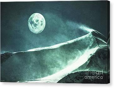 Full Moon Flurry Canvas Print by KaFra Art