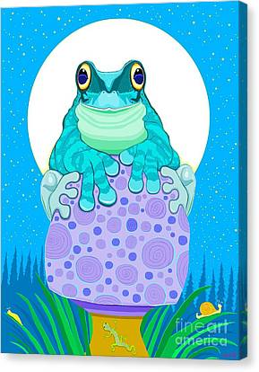 Canvas Print featuring the digital art Full Moon Froggy  by Nick Gustafson