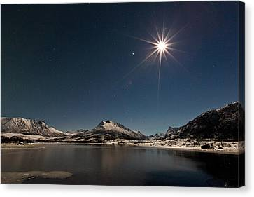 Full Moon In The Arctic Canvas Print by Frank Olsen