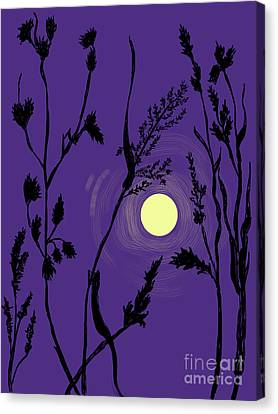 Full Moon In The Wild Grass Canvas Print by Dawn Senior-Trask